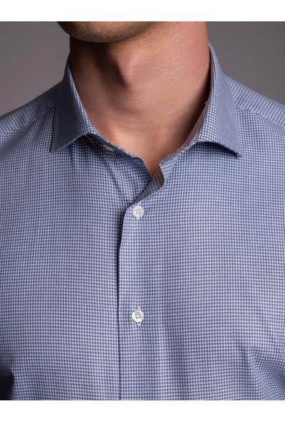 Dufy Lacivert Pötikare İpeksi Pamuk Erkek Gömlek