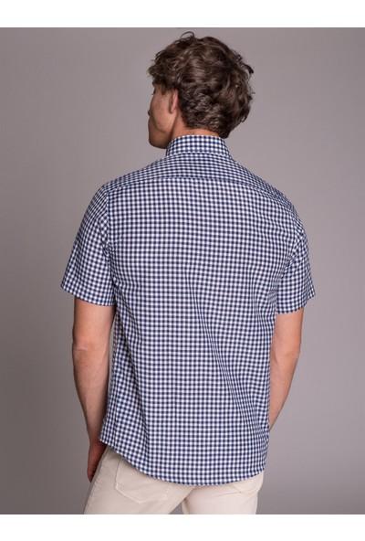 Dufy Lacivert Pötikare Kısa Kol Erkek Gömlek - Regular Fit