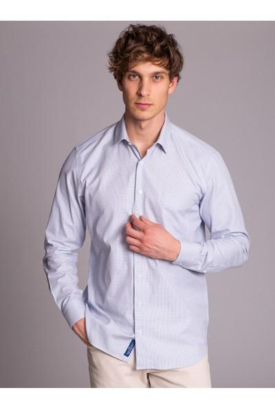 Dufy Lacivert Pötikare Kısa Kol Pamuklu Erkek Gömlek - Regular Fit