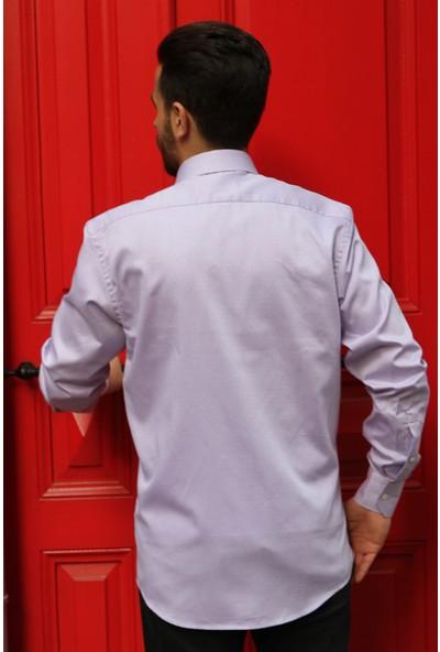 Dufy Lila Armür Örgülü Dokumalı Erkek Gömlek - Regular Fıt