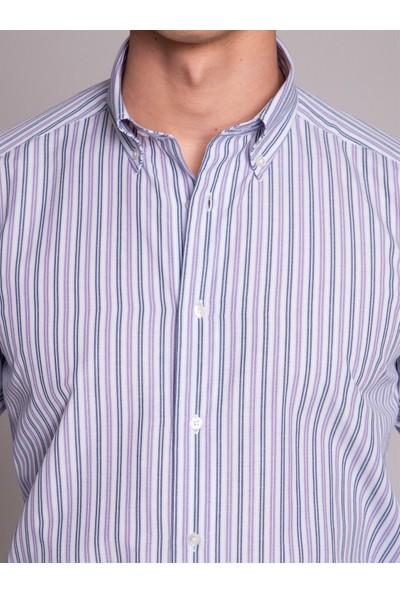Dufy Lila Çizgili Erkek Gömlek - Regular Fit
