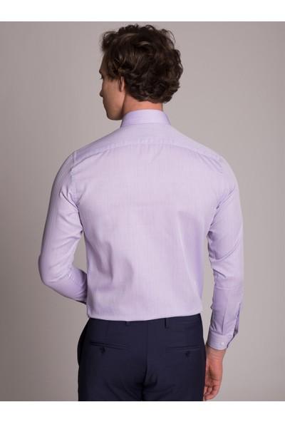 Dufy Lila Klasik Balık Sırtı Erkek Gömlek - Slim Fit