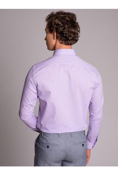 Dufy Lila Oxford Klasik Erkek Gömlek - Slım Fıt