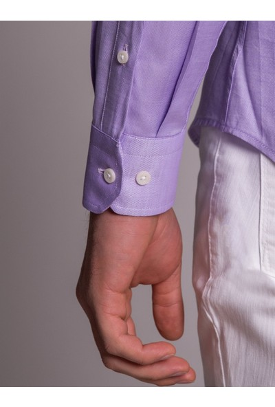 Dufy Lila Pamuklu Oxford Erkek Gömlek - Slım Fıt