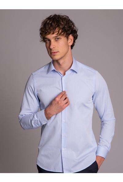 Dufy Mavi Armür Klasik Erkek Gömlek - Slim Fit