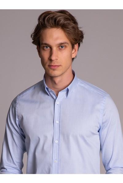 Dufy Mavi Armür Pamuklu Klasik Erkek Gömlek - Slım Fıt