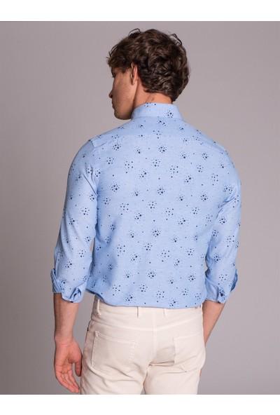 Dufy Mavi Baskılı İnce Pamuklu Erkek Gömlek - Slim Fit
