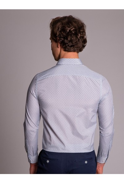 Dufy Mavi Desenli Pamuklu Erkek Gömlek - Slim Fit