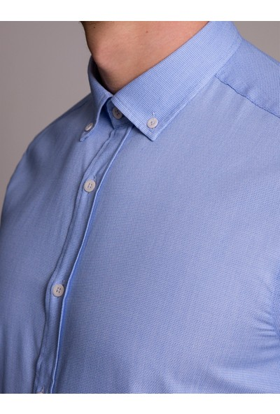 Dufy Mavi Düz Erkek Gömlek - Ekstra Slim Fit