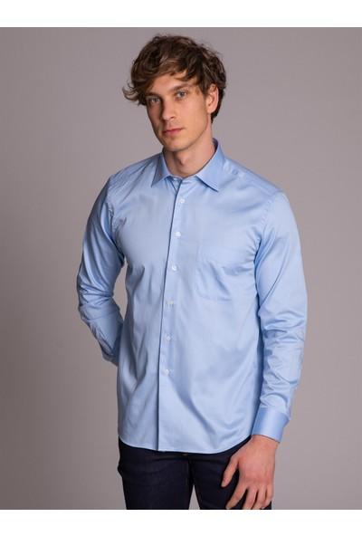 Dufy Mavi Klasik Pamuklu Erkek Gömlek - Regular Fit