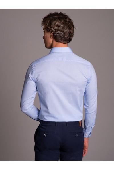 Dufy Mavi Pamuklu Polyester Klasik Erkek Gömlek - Slim Fit