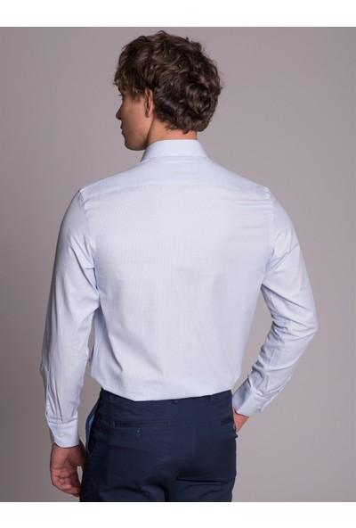 Dufy Mavi Pötikare Pamuklu Erkek Gömlek - Regular Fit