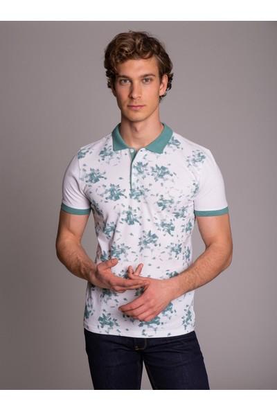 Dufy Mint Polo Yaka Baskılı Erkek T-Shirt - Slim Fit
