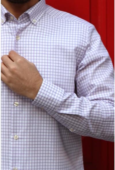 Dufy Mor Kareli Erkek Gömlek - Slim Fit