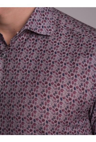 Dufy Mürdüm Desenli Sık Dokuma Erkek Gömlek