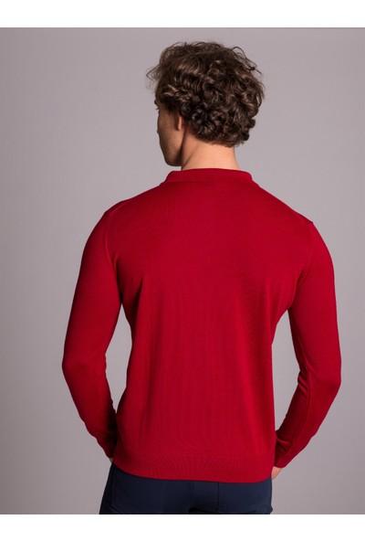 Dufy Polo Yaka Kırmızı Düz Erkek Triko