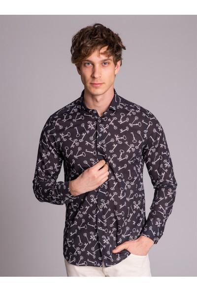 Dufy Siyah Baskılı Erkek Gömlek - Slim Fit