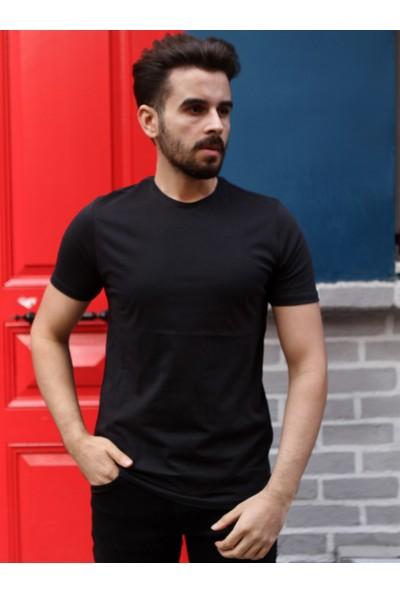 Dufy Siyah Bisiklet Yaka Erkek T-Shirt - Slim Fit