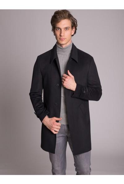 Dufy Siyah Düz Gizli Düğmeli Erkek Kaban - Slim Fit