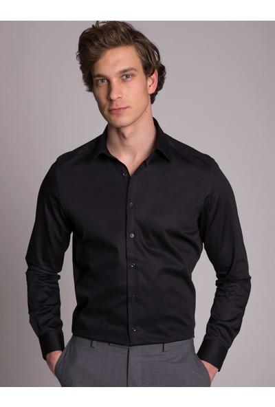 Dufy Siyah Pamuklu İnce Sık Dokuma Klasik Erkek Gömlek - Ekstra Slim Fit