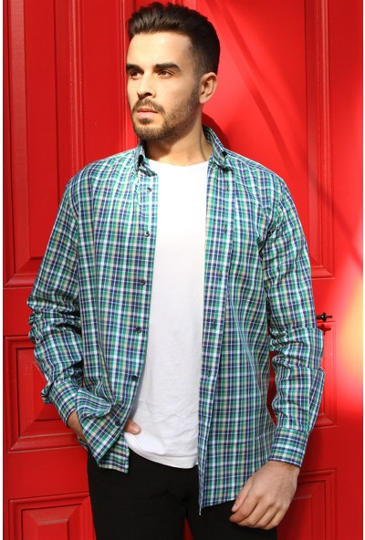 Dufy Yeşil Kareli Erkek Gömlek - Regular Fit
