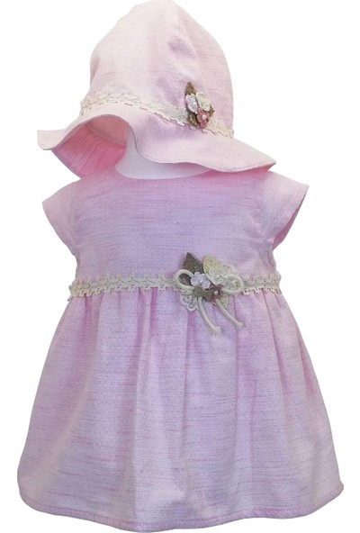 Capps 2231 Kız Bebek Elbise Şapka 2'li Set