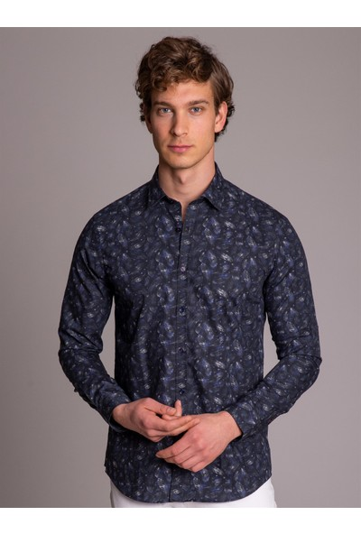Dufy Baskı Erkek Gömlek - Ekstra Slim Fit