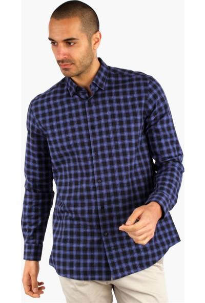 Dufy Mavi Ekose Erkek Gömlek - Slım Fıt