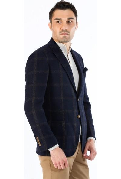 Dufy Erkek Ekose Desenli Kalın Ceket Regular Fıt
