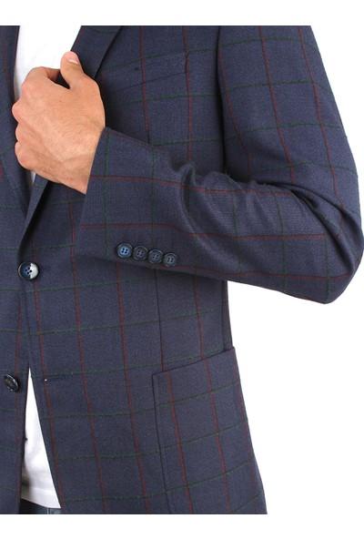 Dufy Erkek Büyük Kareli Desenli Ceket Regular Fıt