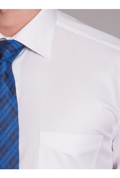 Dufy Büyük Beden Beyaz Düz Erkek Gömlek