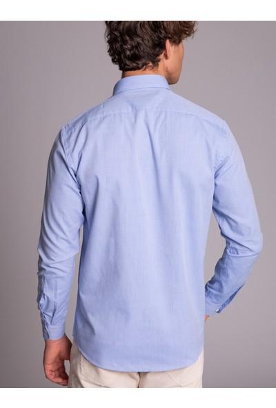 Dufy Mavi Düz Erkek Gömlek