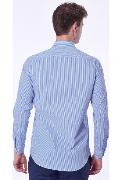 Dufy Çizgili Erkek Gömlek - Slim Fit