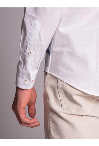 Dufy Erkek Yatay Çizgi Desenli Gömlek Slim Fit