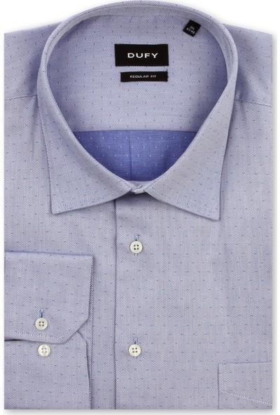 Dufy Büyük Beden Mavi Armür Erkek Gömlek