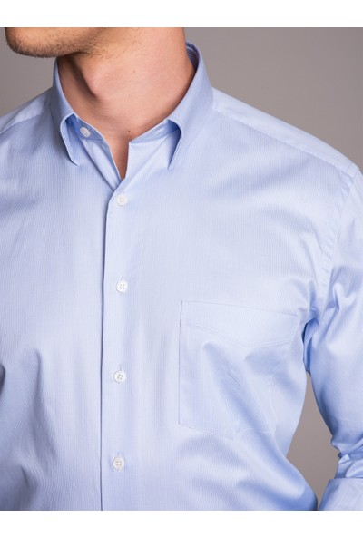 Dufy Mavi Çizgili Erkek Gömlek