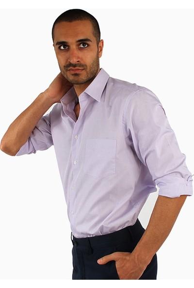Dufy Büyük Beden Lila Düz Erkek Gömlek