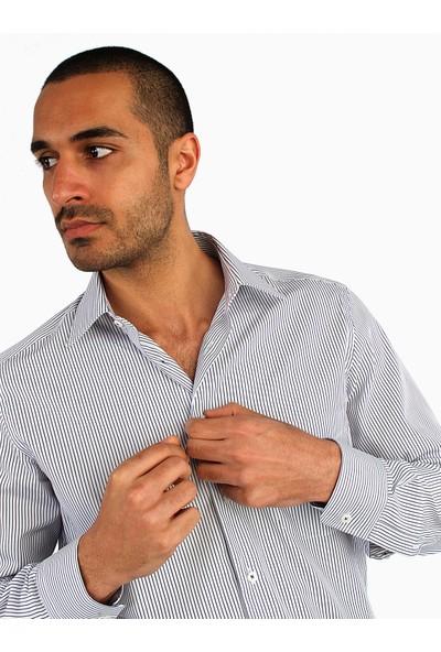 Dufy Erkek Büyük Beden Çizgili Gömlek