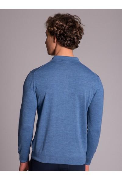 Dufy Mavi Düz Erkek Triko