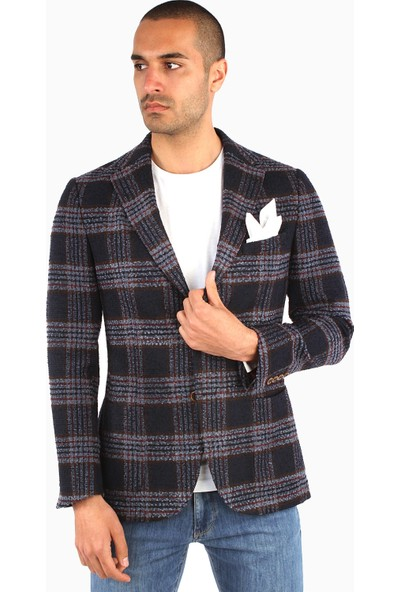 Dufy Erkek Ekose Ceket Regular Fıt