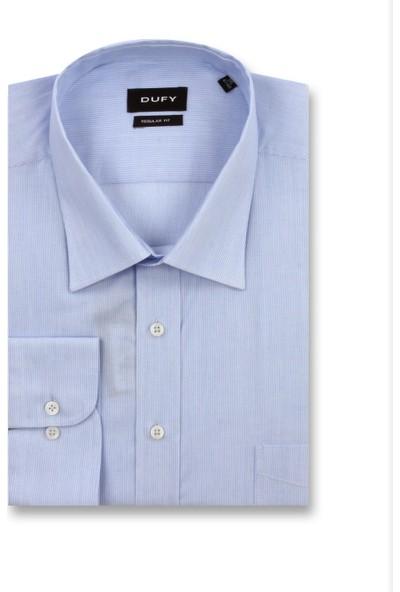 Dufy Mavi Armür Erkek Gömlek