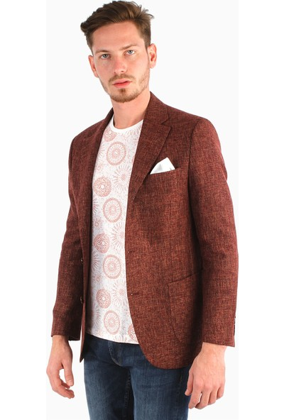 Dufy Erkek Dokuma Desenli Yazlık Ceket Galvin Sn Slimfit