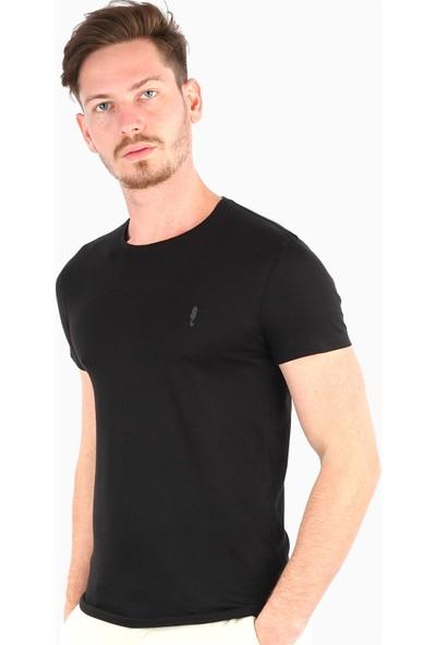 Dufy Siyah Düz Erkek T-Shirt