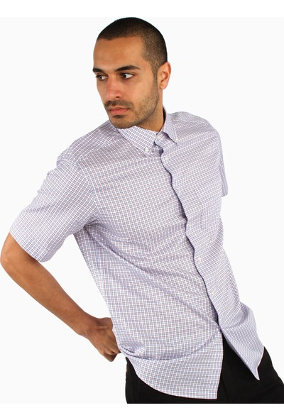 Dufy Erkek Kısa Kol Ekose Gömlek Regular Fıt