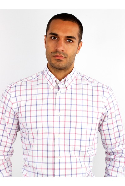 Dufy Pembe Ekose Erkek Gömlek - Regular Fıt