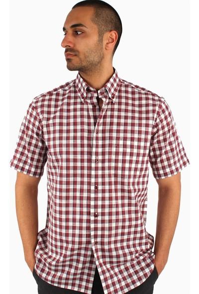 Dufy Erkek Kısa Kol Keten Ekose Gömlek Regular Fıt