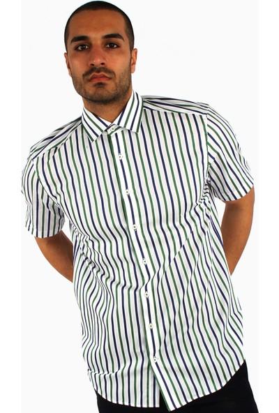 Dufy Erkek Kısa Kol Çizgili Gömlek Slim Fit