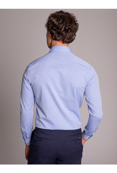 Dufy Erkek Kendinden Çizgili Gömlek Slim Fit