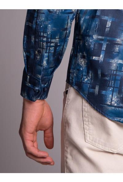 Dufy Baskı Erkek Gömlek - Slim Fit