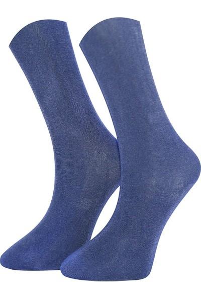 Adabella 12 Çift Mavi Erkek Yazlık İnce Bambu Dikişsiz Çorap 41 - 46